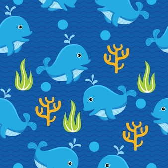 Cute whale seamless pattern in flat design style