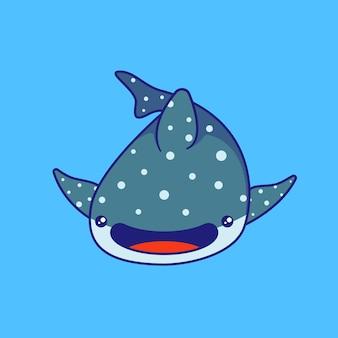 かわいいジンベイザメの水泳イラスト。ジンベイザメのマスコット漫画のキャラクター動物が分離されました。
