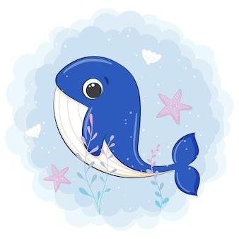 흰색 절연 바다에서 귀여운 고래 수영