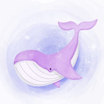Cute whale swimming in ocean