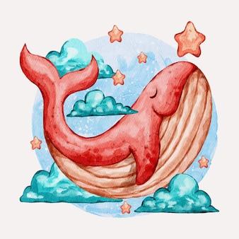 かわいいクジラの水彩イラスト