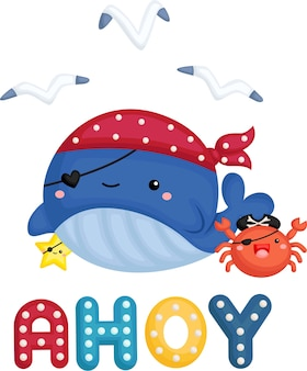 A cute whale wearing a pirate costume with a little crab beside it
