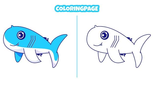 ぬりえでかわいいクジラ