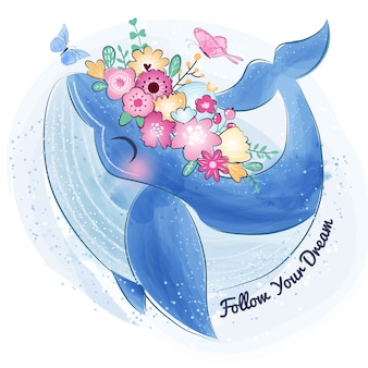 Cute whale with flower