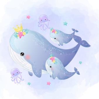 かわいいクジラの母性水彩風