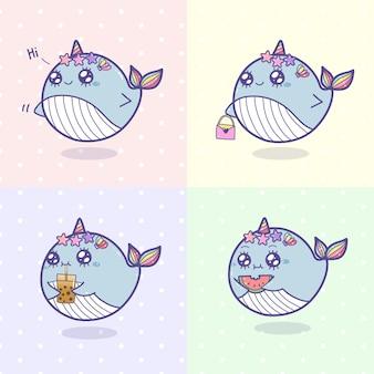 かわいいクジラユニコーン漫画描画セット。