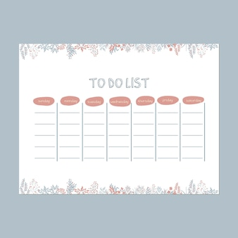 Cute whimsical garden to do list weekly template