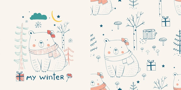 Cute white bear in the forestwith seamless pattern hand drawn vector illustration
