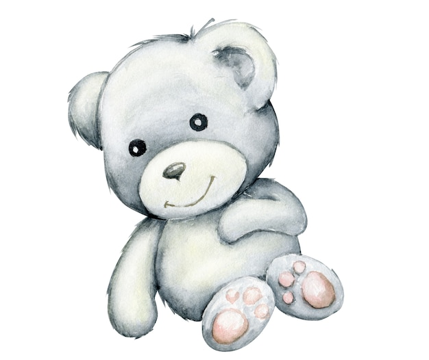 Cute white bear, lying down. watercolor, animal in cartoon style isolated