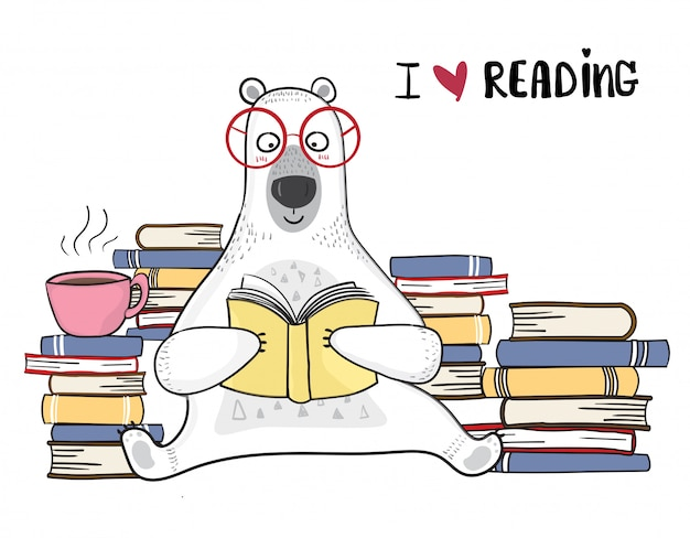 Cute white bear in red glasses is reading book with pile of books
