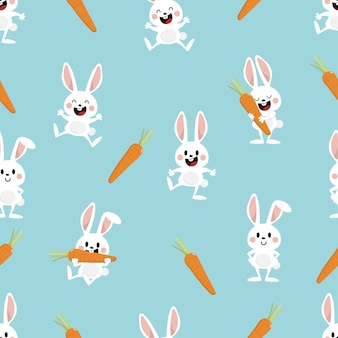 Cute white bunny and carrot seamless pattern