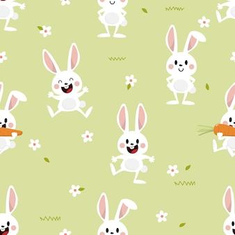 Cute white bunny and flower seamless