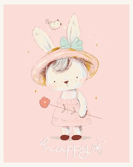 Cute white bunny girl wreath of flowers can be used for tshirt print kids wear fashion design