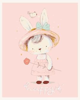 귀여운 흰색 토끼 소녀 꽃 화환 tshirt 인쇄에 사용할 수 있습니다. 아이들은 패션 디자인을 입습니다.