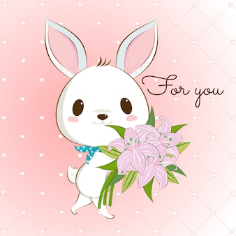 Cute white bunny rabbit with lily bouquet