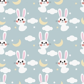 Cute white bunny on the sky seamless pattern.