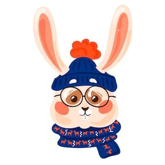 帽子とスカーフとかわいい白いウサギかわいい冬の動物のクリスマスイラスト