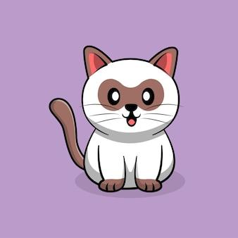 보라색에 고립 된 귀여운 흰 고양이 만화