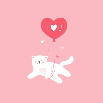 かわいい白猫は風船で飛ぶ。