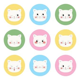 Cute white cat icons   set