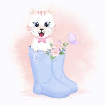 Милый белый кот в сапоге и бабочка