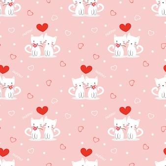 愛のシンボルのシームレスなパターンでかわいい白い猫。