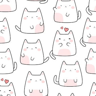 Cute white cat kitten cartoon doodle seamless pattern