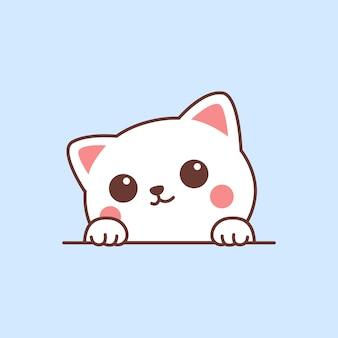 かわいい白猫が壁の漫画に足を踏み出す