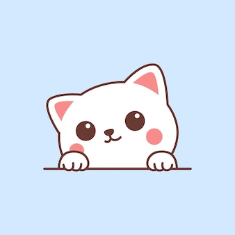 Cute white cat paws up over wall cartoon