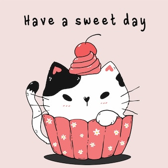 Cute white cat in pink muffin with daisy flower and cherry on head