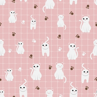 Cute white cat on pink pastel background seamless pattern