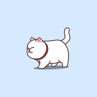 Cute white cat walking cartoon, vector illustration