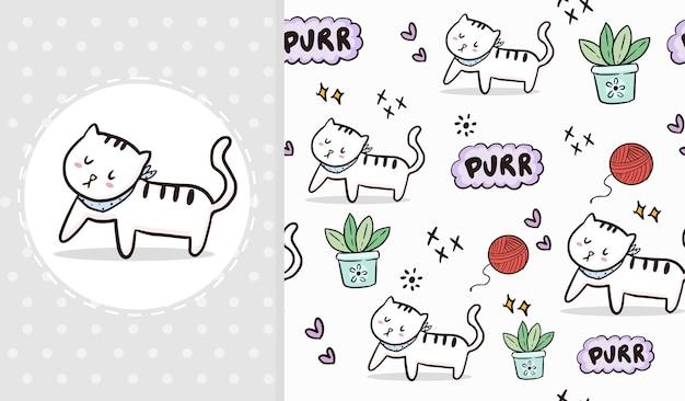 Cute white cat walking seamless pattern   cartoon