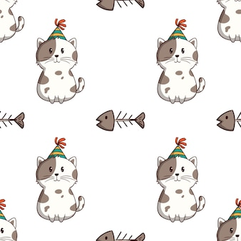Cute white cat with fishbone in seamless pattern with colored doodle style on white background Premium Vector