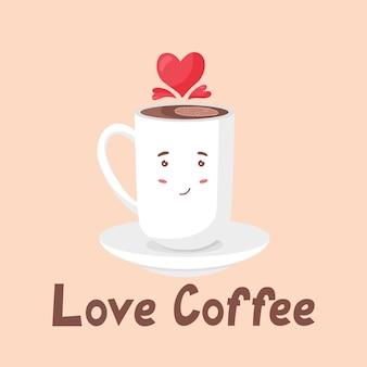 Cute white coffee mug hearts