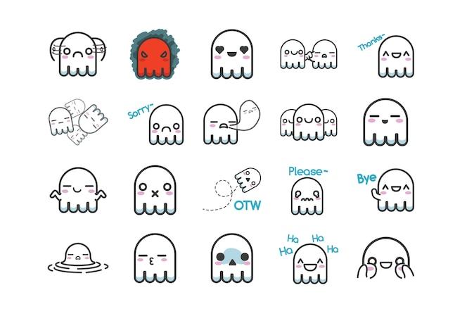 여러 식으로 귀여운 하얀 유령 스티커 문자 세트