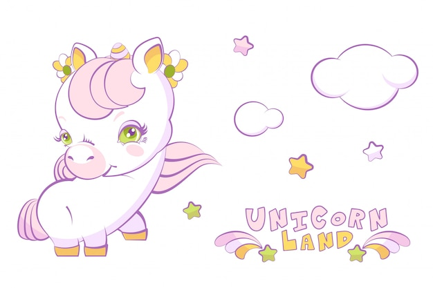 Cute white little girl unicorn with pink hair and stars