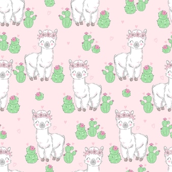 Cute white llama with cactus pattern