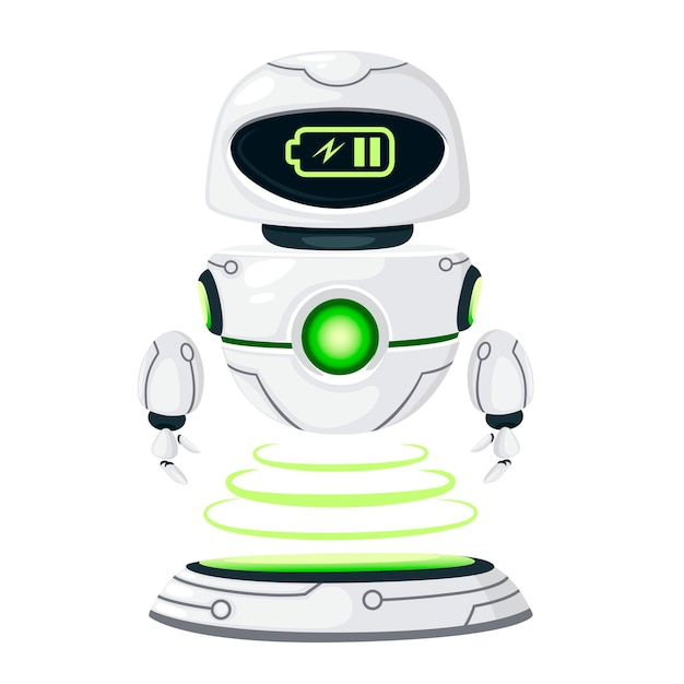 Cute white modern levitating robot charges at the docking station flat vector illustration isolated on white background.
