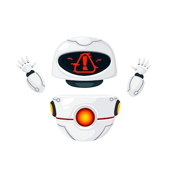 Cute white modern levitating robot raised hands and with alert face flat vector illustration isolated on white background.
