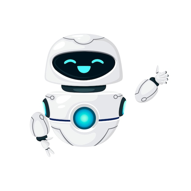 귀여운 흰색 현대 공중부양 로봇이 손을 흔들고 흰색 배경에 격리된 행복한 얼굴 평면 벡터 삽화를 가지고 있습니다.