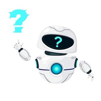 귀여운 흰색 현대 공중부양 로봇이 손을 흔들고 물음표가 흰색 배경에 격리된 평평한 벡터 삽화를 마주하고 있습니다.