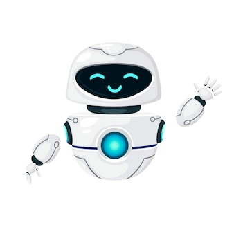 Cute white modern levitating robot waving hand and with happy face flat vector illustration isolated on white background.