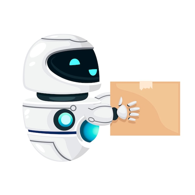 Cute white modern levitating robot with happy face hold the cardboard box flat vector illustration