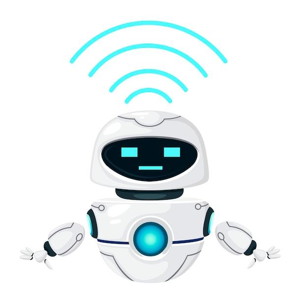 흰색 배경에 고립 된 wi-fi 모듈 평면 벡터 일러스트와 함께 귀여운 흰색 현대 공중 부양 로봇.