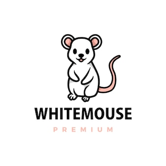 Cute white mouse cartoon logo  icon illustration