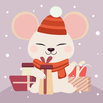 Cute white mouse character holding a gift box