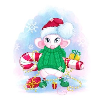A cute white mouse in a santa claus hat and a green knitted sweater