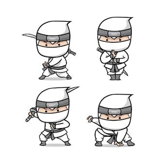 The cute white ninja set illustration