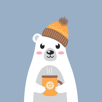 Cute white polar bear in a warm hat with a cup of hot tea on blue background modern cartoon design